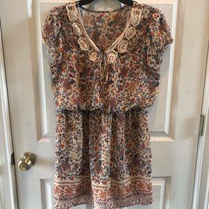 City Triangles Tan Boho Dress with Tan Crochet
